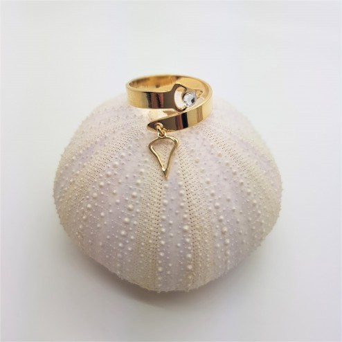 Gold plated ring with charm